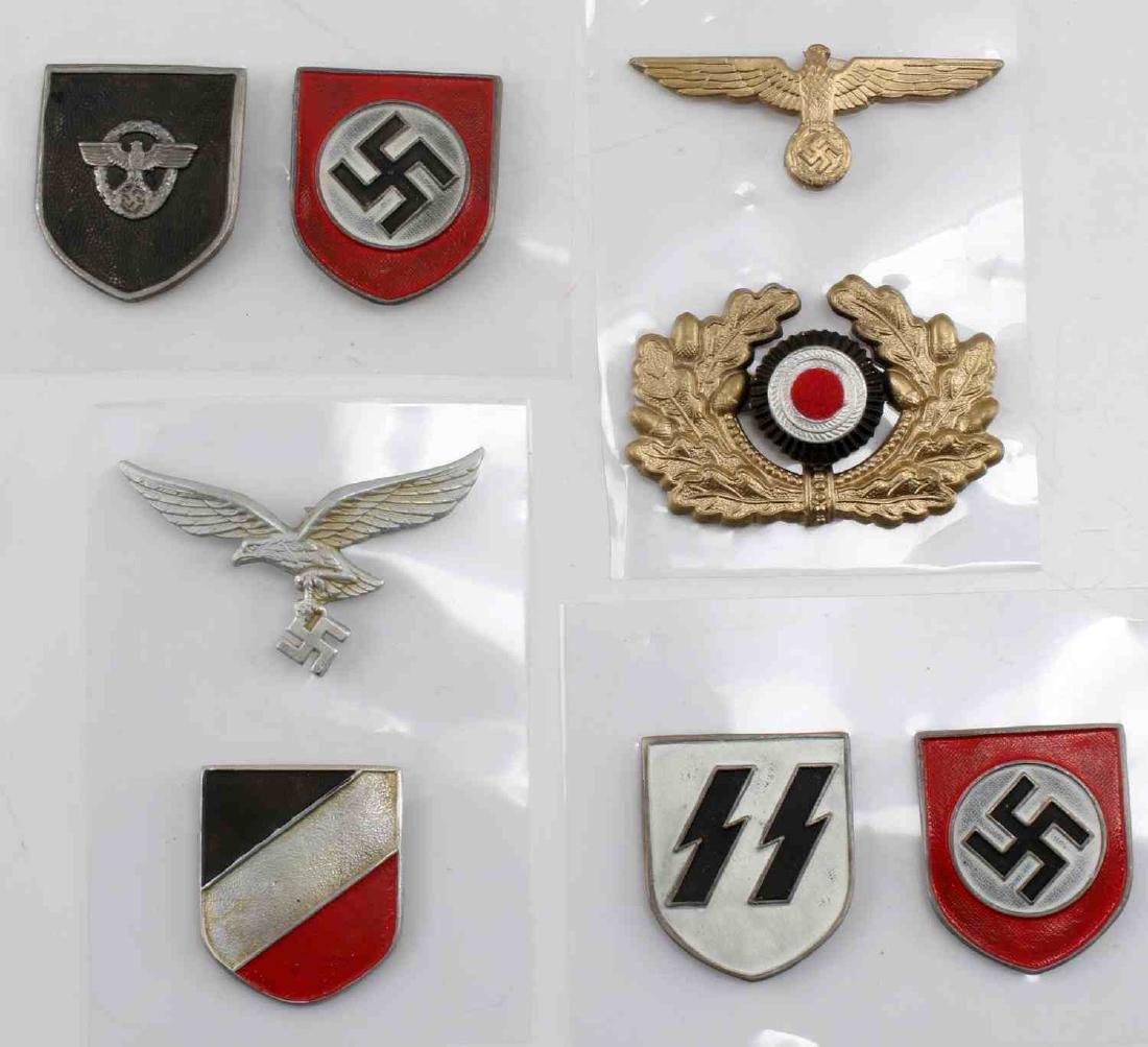 WWII GERMAN THIRD REICH CAP BADGE LOT OF EIGHT