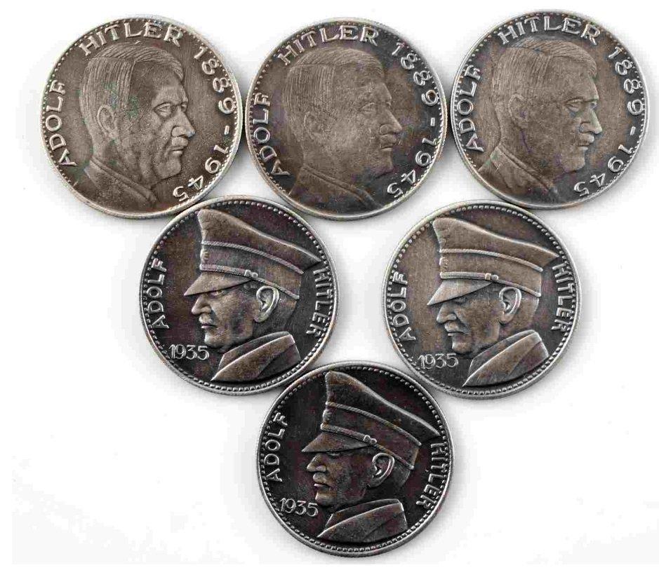 WWII GERMAN THIRD REICH ADOLF HITLER COIN LOT OF 6