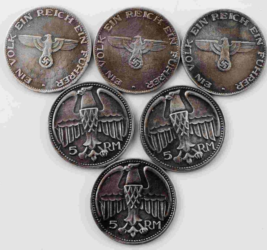 WWII GERMAN THIRD REICH ADOLF HITLER COIN LOT OF 6 - 2
