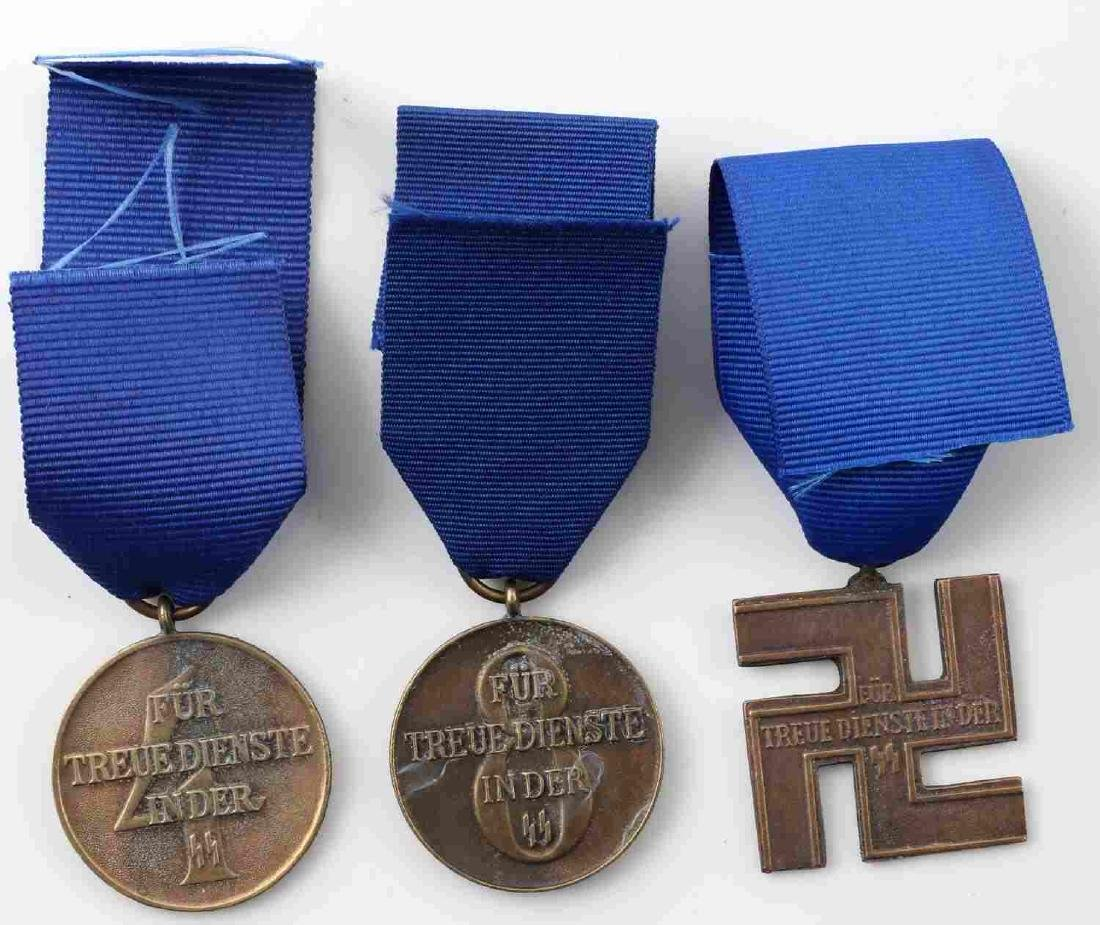 WWII GERMAN THIRD REICH SS LONG SERVICE MEDAL LOT - 2