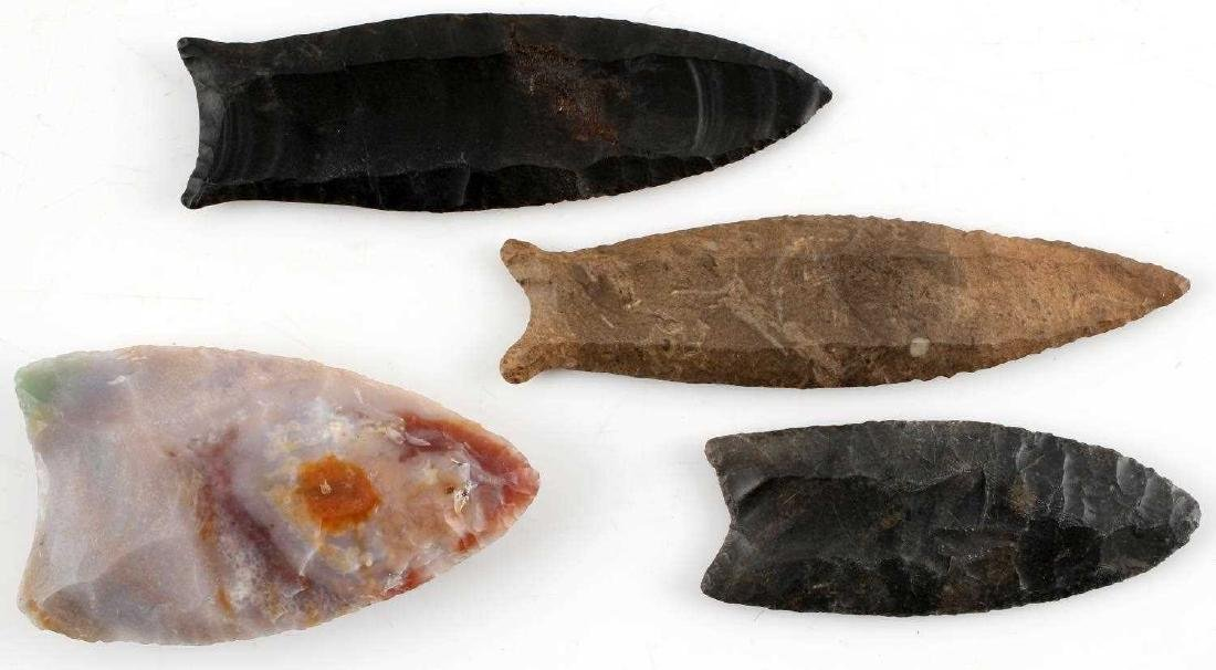 LOT OF 4 PALEO & LATER ARROWHEAD POINTS CUMBERLAND