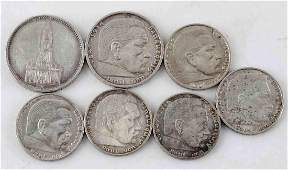 WWII GERMAN THIRD REICH COIN LOT OF 7 SILVER COINS