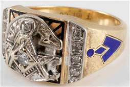 10KT GOLD & DIAMOND BLUE LODGE MASONIC MENS RING