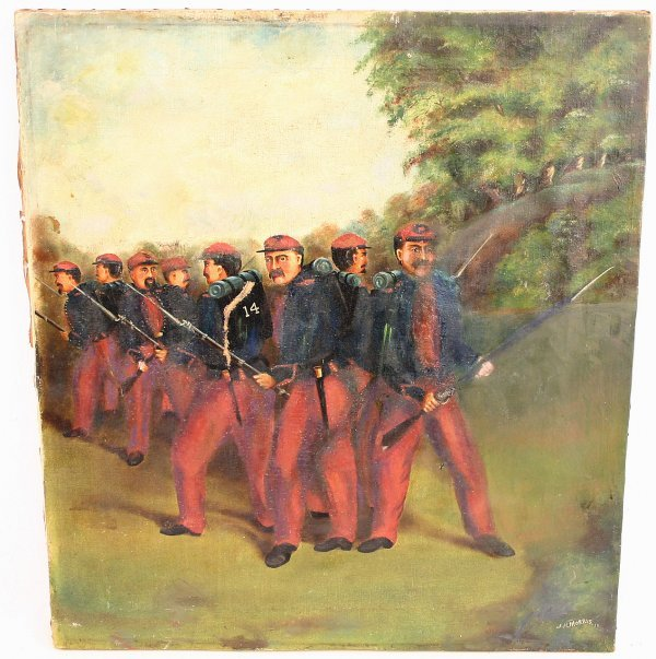 ORIGINAL CIVIL WAR OIL PAINTING 1885 NY 14 MILITIA