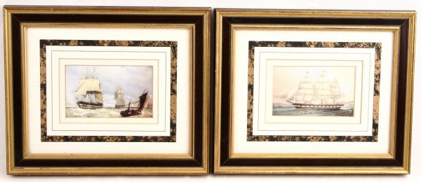 TWO FRAMED GLAZED TALL SHIP PRINTS CONSTITUTION