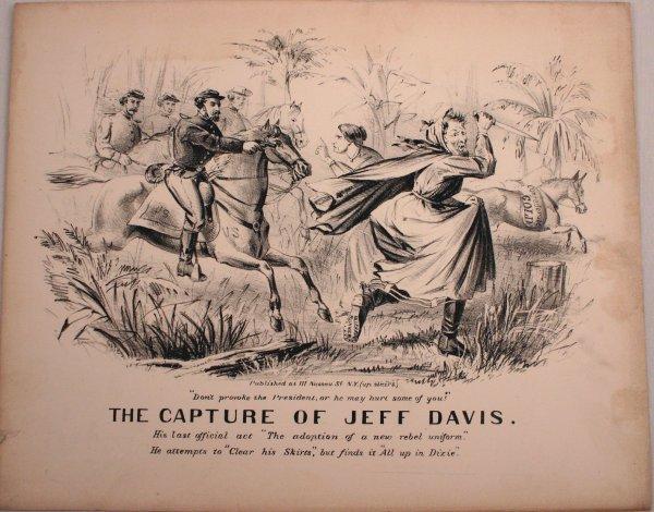 1865 CIVIL WAR PRINT THE CAPTURE OF JEFF DAVIS