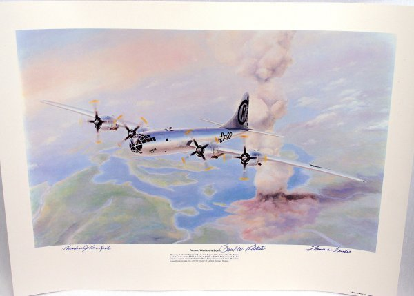 ENOLA GAY PRINT SIGNED BY FLYERS B-29 ATOMIC BOMB