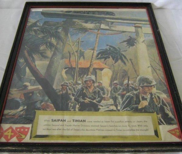 WWII USMC MARINES GUINNESS POSTER ORIGINAL SAIPAN