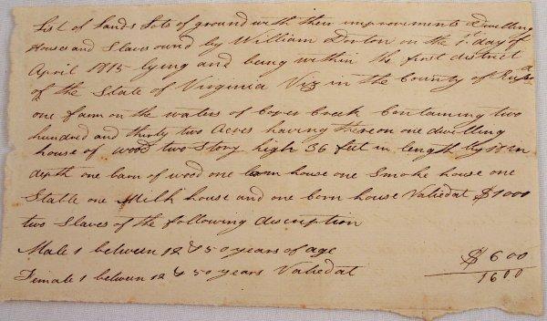 1815 PRE CIVIL WAR LETTER SALE OF SLAVES VIRGINIA