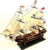 "WOOD SAIL BOAT WOODEN MODEL HMS SURPRISE 28"" X 21"""
