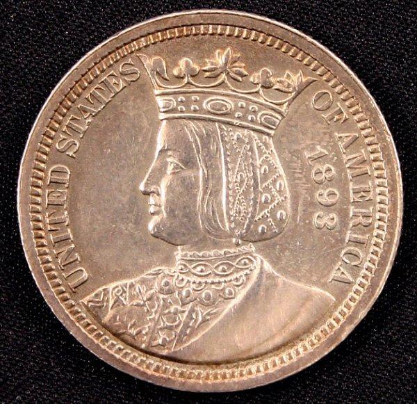 1893 ISABELLA QUARTER SILVER COMMEMORATIVE