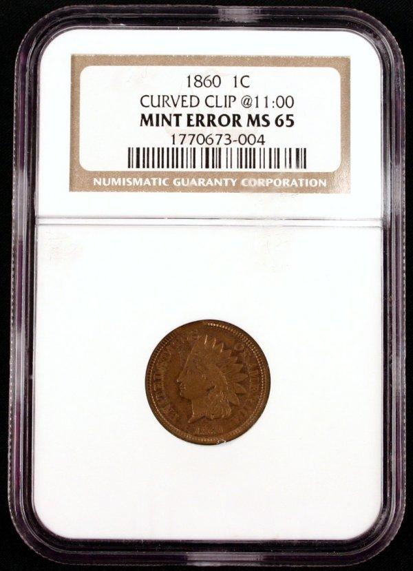 1860 INDIAN CENT MS65 MINT ERROR NGC