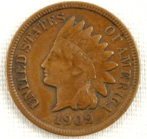 1909 S INDIAN CENT KEY DATE XF