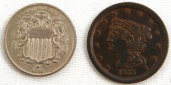 1868 SHIELD NICKEL MS+ 1855 HALF CENT UNC