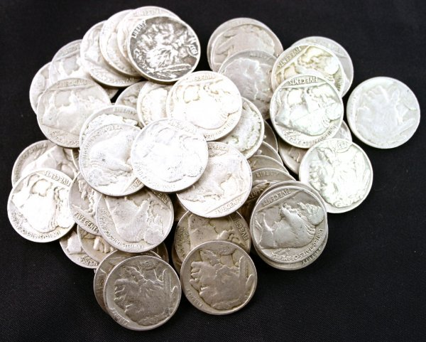 50 BUFFALO NICKEL LOT CLEAR DATE F TO VF
