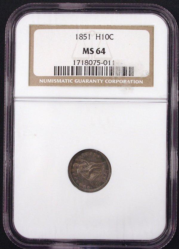 1851 HALF DIME MS64 NGC