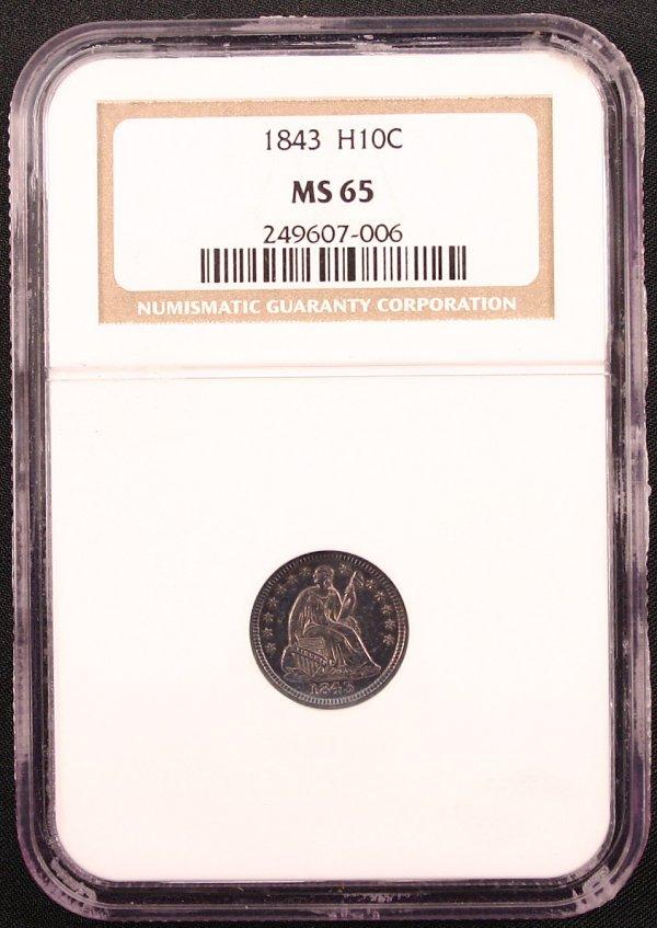 1843 HALF DIME NGC MS65