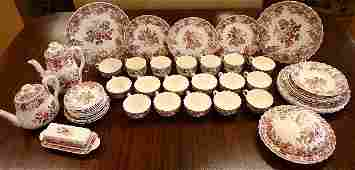 SPODE CHINA SET 48 PC BOUQUET RED ROSE & SERVING