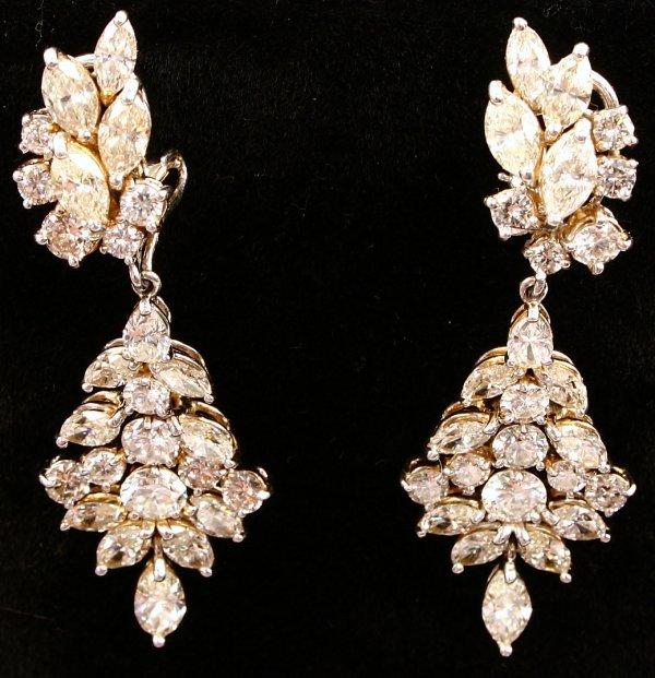 PAIR OF DIAMOND DROP EARRINGS 52 GEMS 12 CARAT