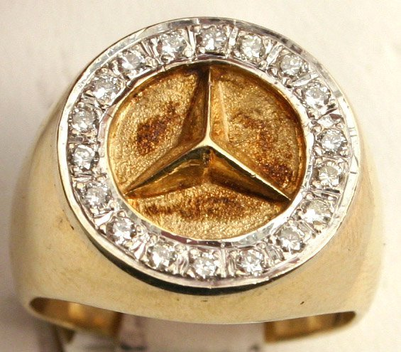 Mens 14k gold mercedes benz ring 1 2 ct diamonds for 14k gold mercedes benz pendant