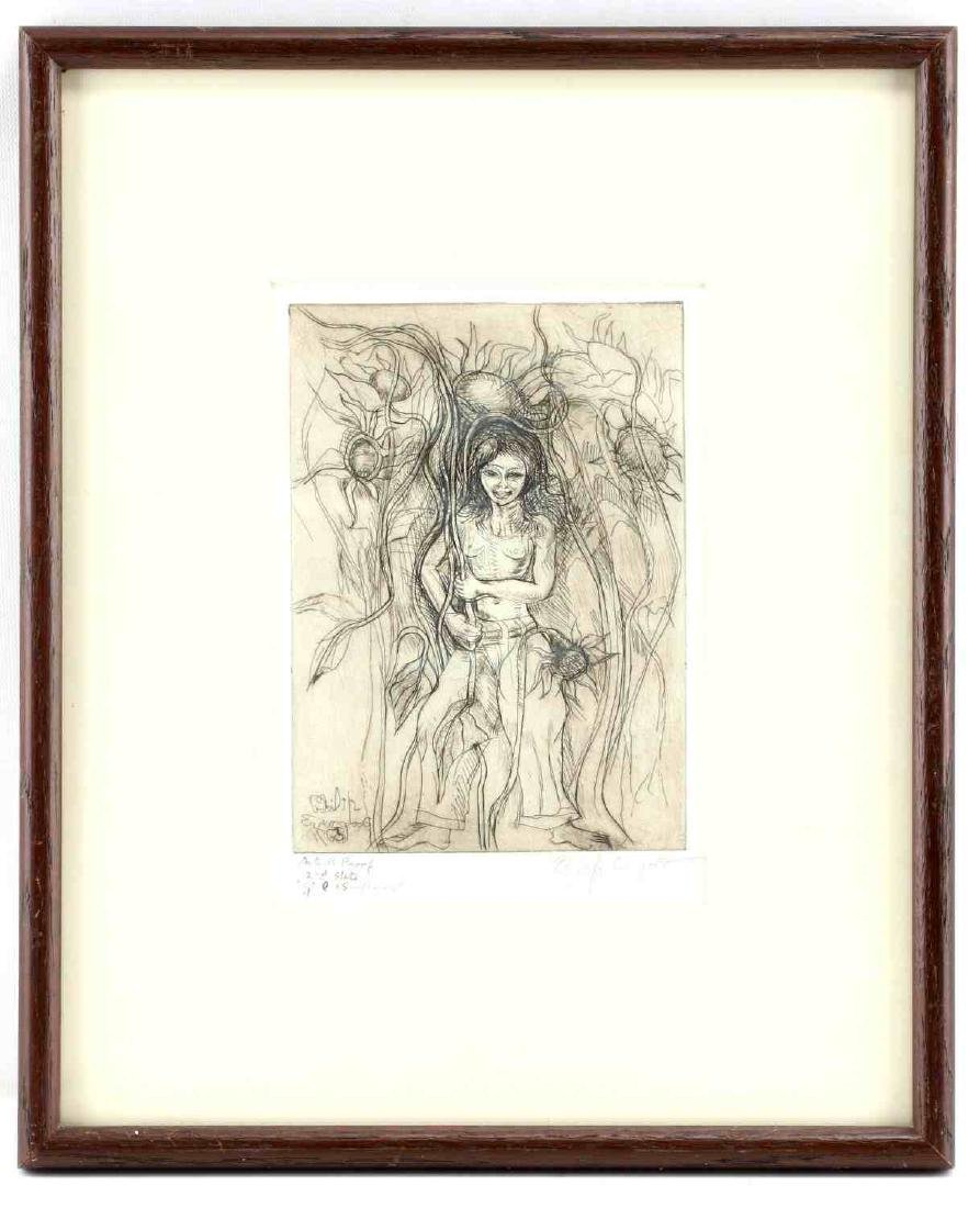 PHILIP EVERGOOD ARTISTS PROOF ETCHING SIGNED