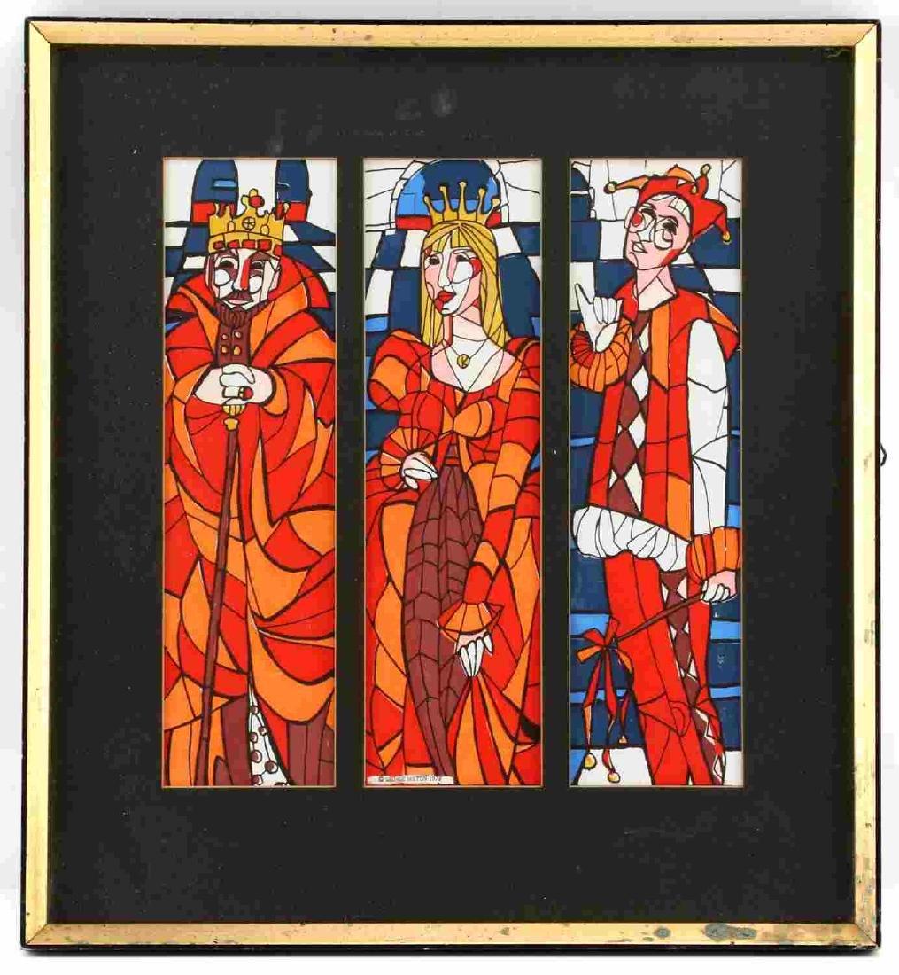 GEORGE MILTON ART NOUVEAU KING QUEEN JOKER PRINT