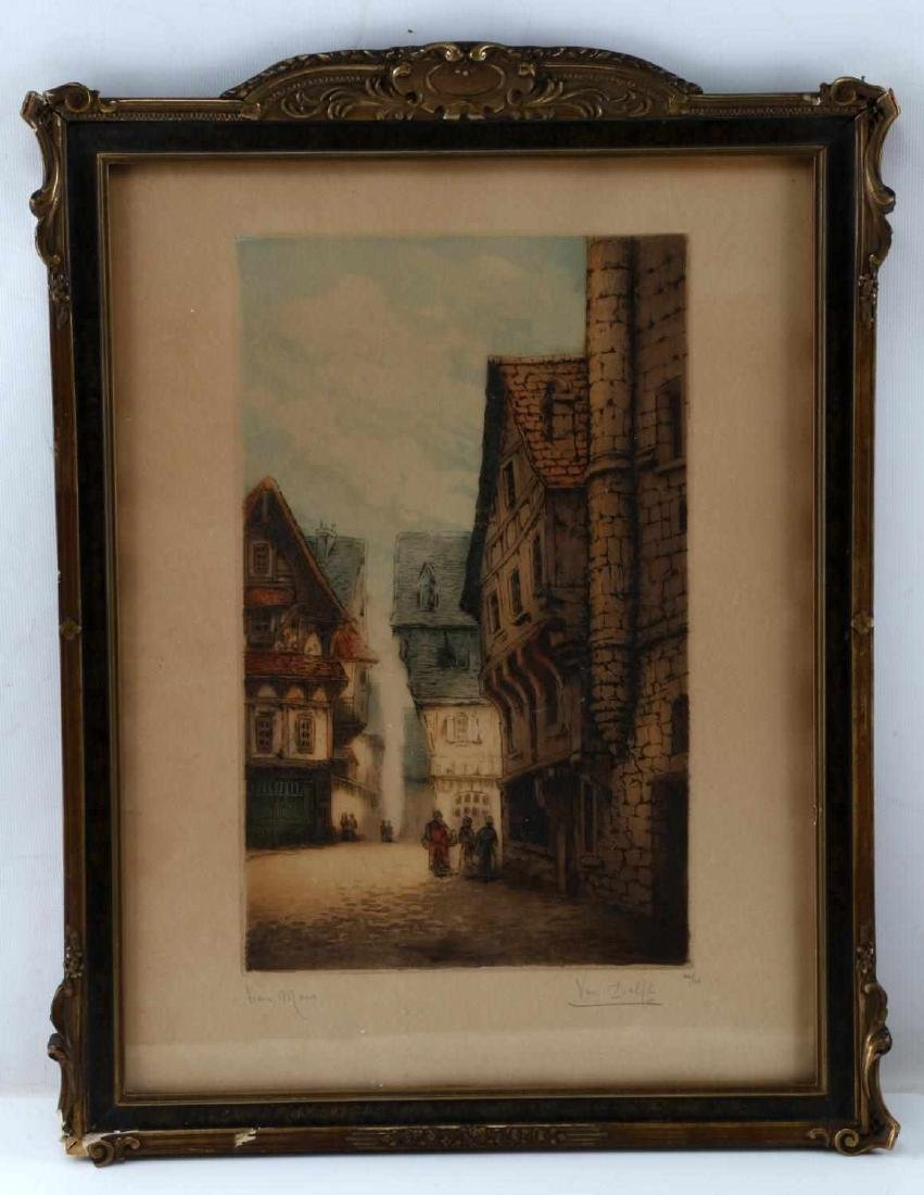FRAMED AND MATTED QUAINT TOWNSCAPE PRINT SIGNED