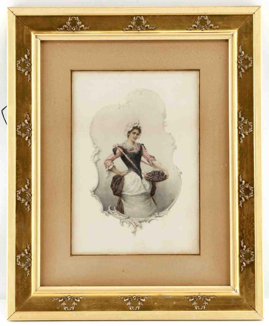 HEINRICH LEFLER COLORED & FRAMED LITHOGRAPH