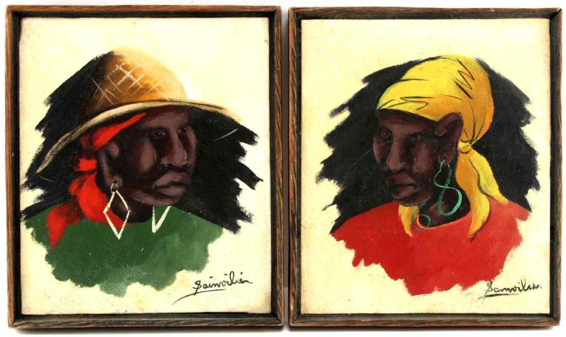 AFRICAN MODERN PORTRAIT PAINTINGS OIL ON CANVAS