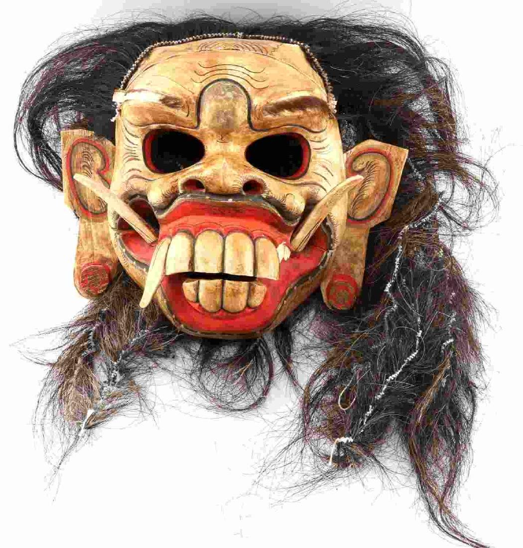 WOODEN CARVED & PAINTED ONI MASK W ATTACHED HAIR