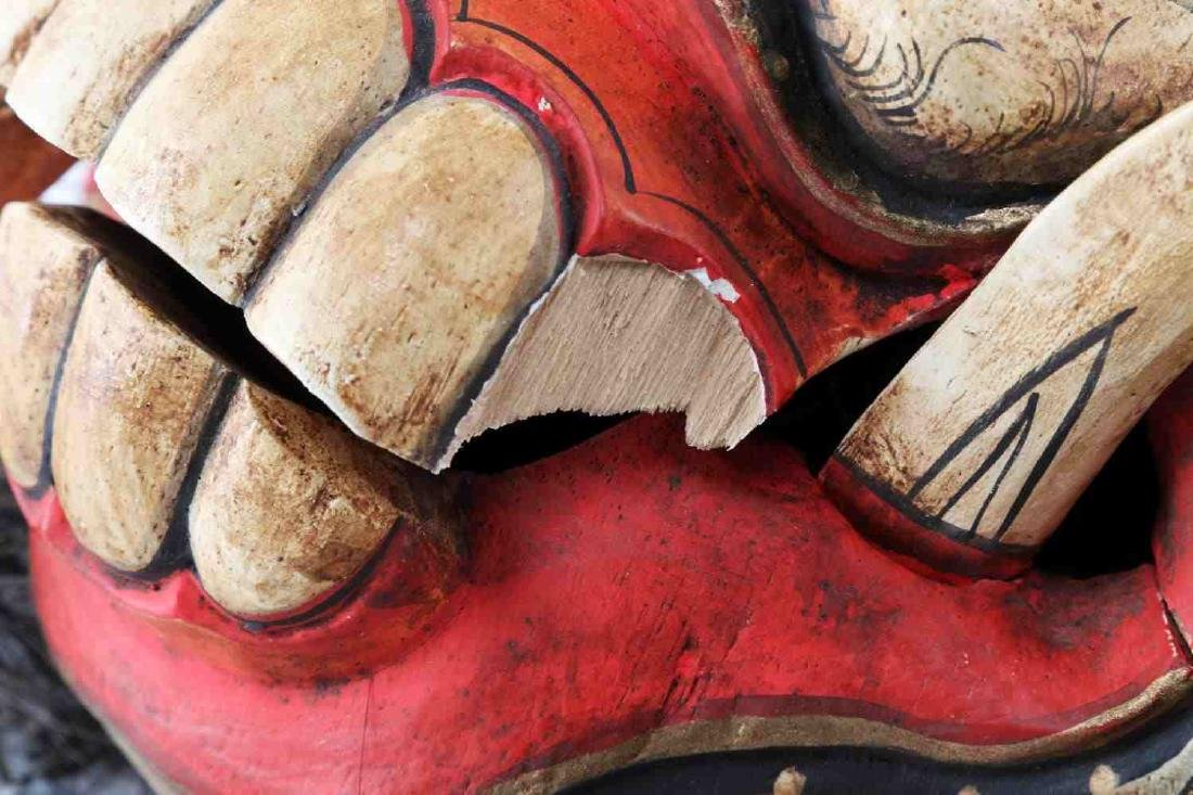 WOODEN CARVED & PAINTED ONI MASK W ATTACHED HAIR - 4