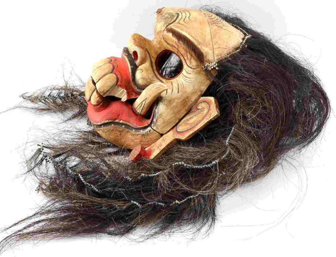 WOODEN CARVED & PAINTED ONI MASK W ATTACHED HAIR - 6