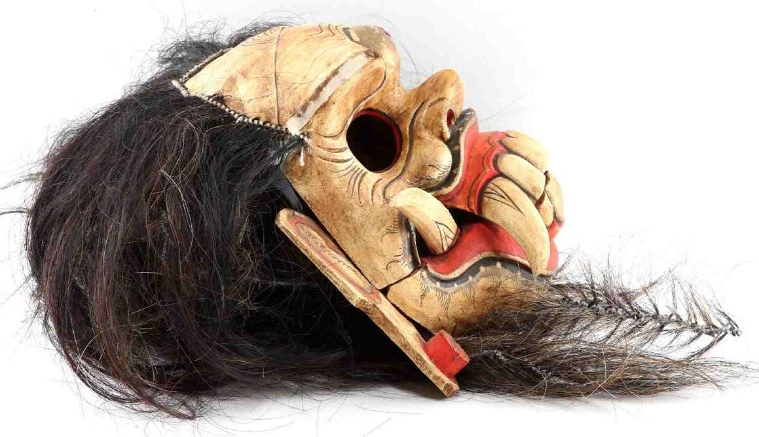 WOODEN CARVED & PAINTED ONI MASK W ATTACHED HAIR - 8