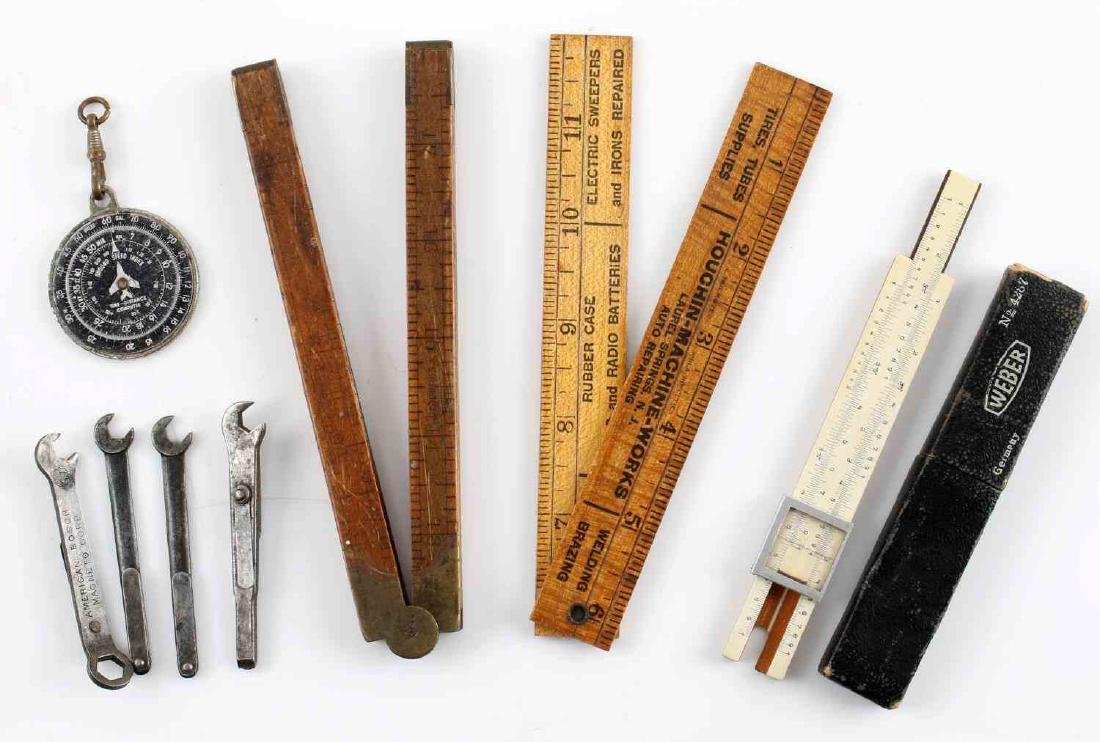 VINTAGE TO ANTIQUE POCKET MEASUREMENTS & TOOL LOT