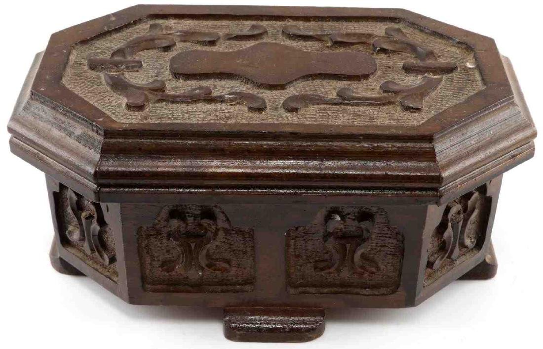 ANTIQUE HAND CARVED WOODEN TURKISH PUZZLE BOX - 3