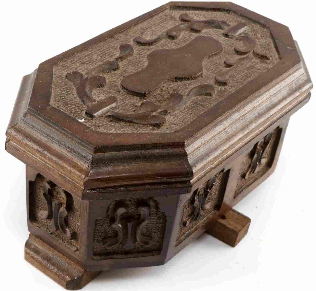 ANTIQUE HAND CARVED WOODEN TURKISH PUZZLE BOX - 4