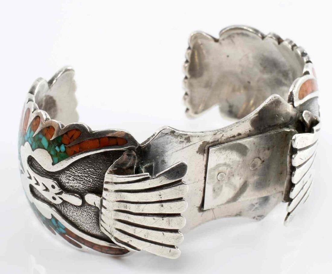 SILVER NATIVE AMERICAN OPEN BANGLE CORAL TURQUOISE