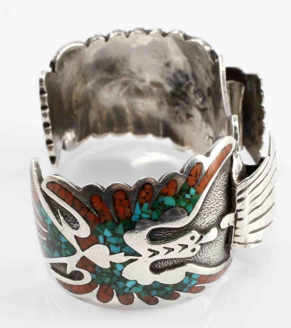 SILVER NATIVE AMERICAN OPEN BANGLE CORAL TURQUOISE - 2