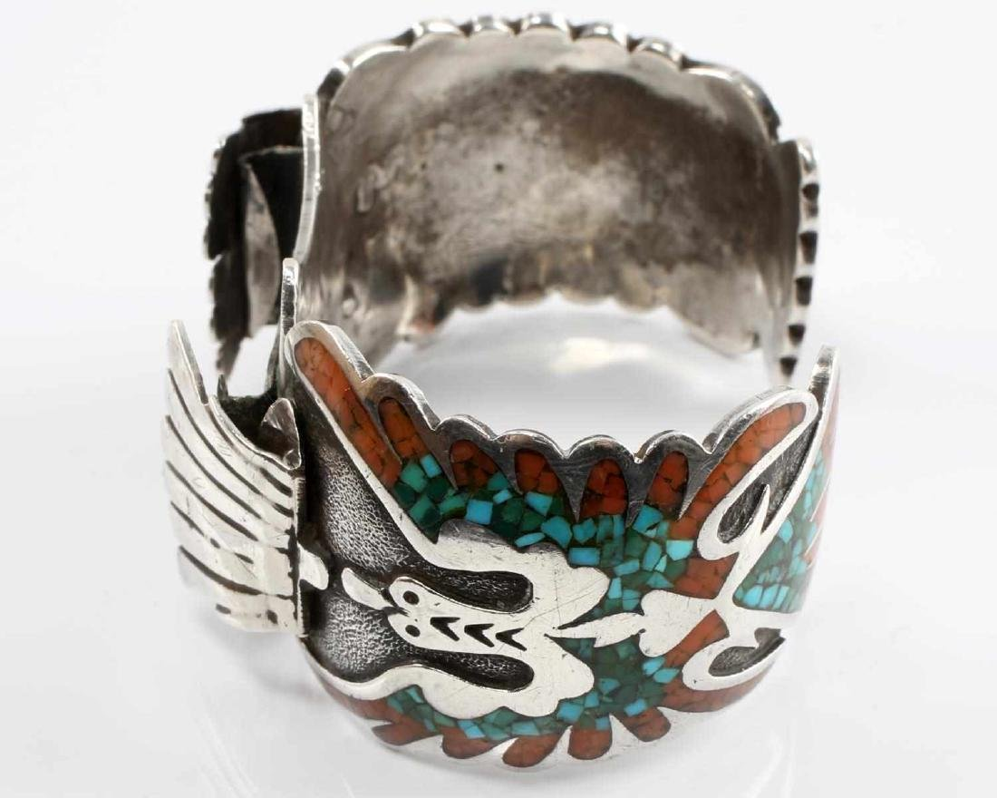 SILVER NATIVE AMERICAN OPEN BANGLE CORAL TURQUOISE - 4