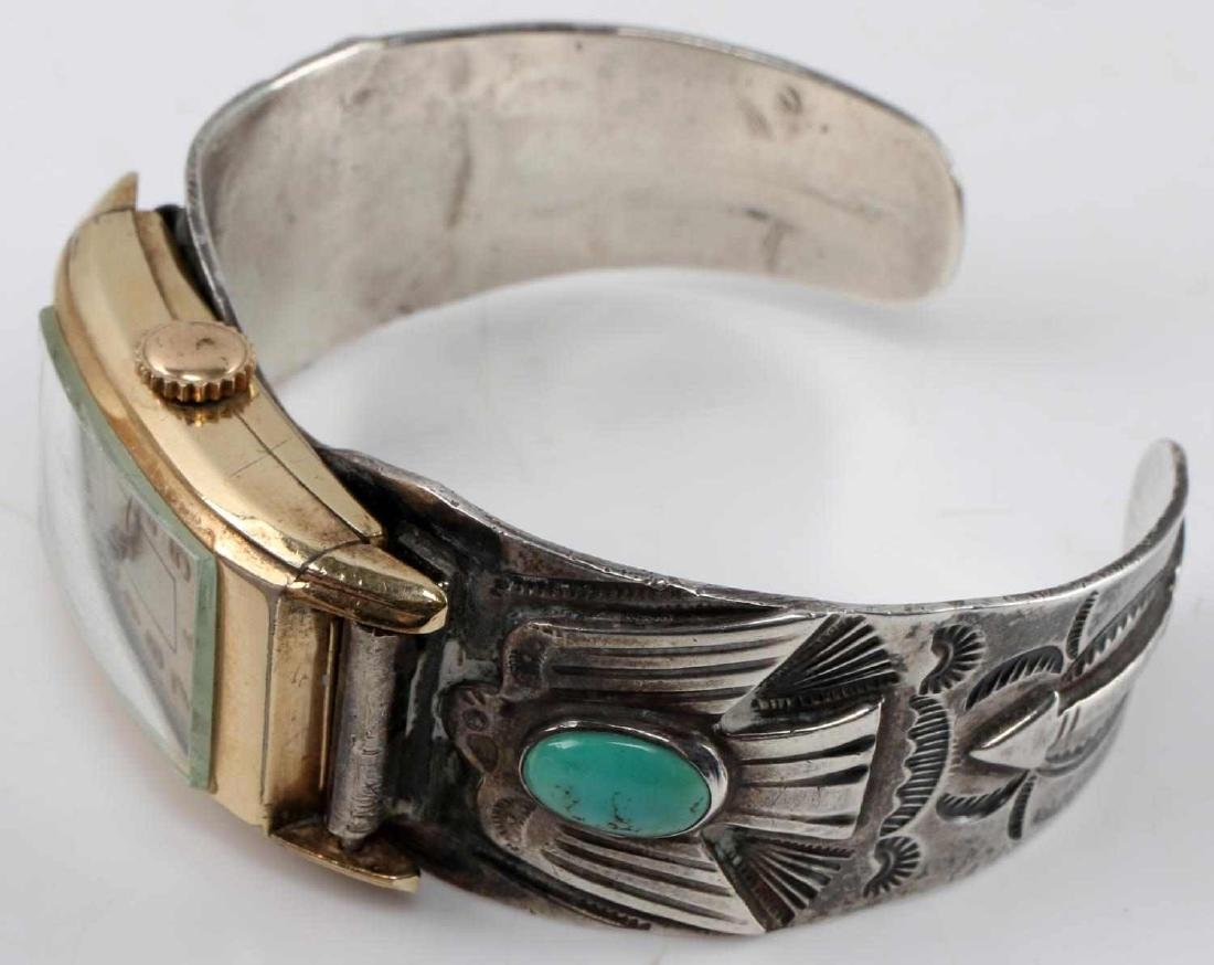 ETCHED SILVER TURQUOISE BANGLE WALTHAM WATCH FACE - 2