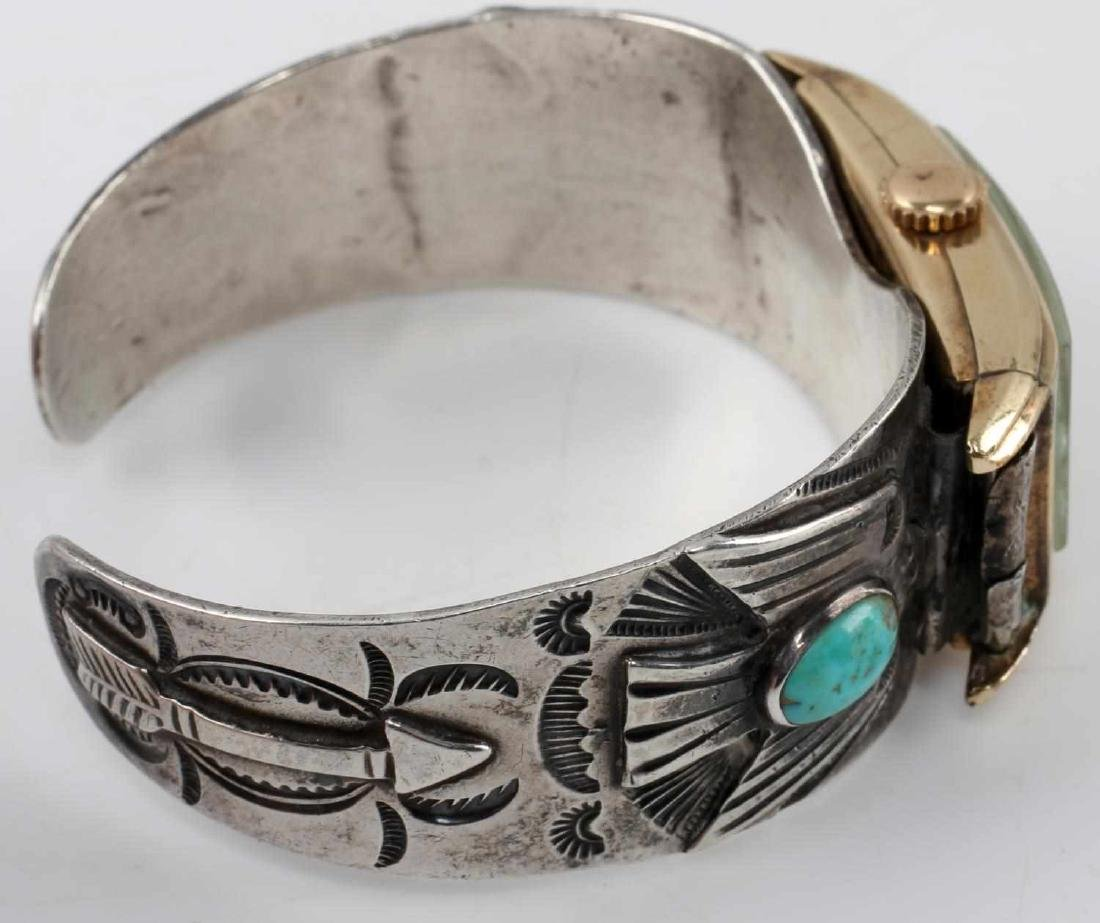 ETCHED SILVER TURQUOISE BANGLE WALTHAM WATCH FACE - 4