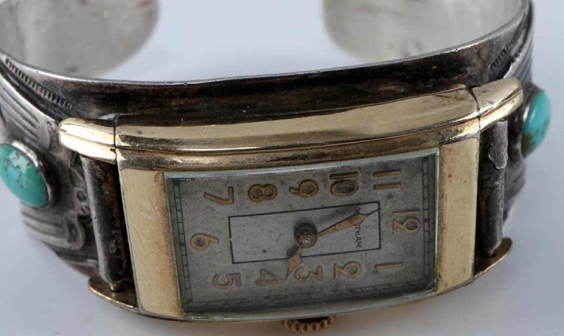 ETCHED SILVER TURQUOISE BANGLE WALTHAM WATCH FACE - 5