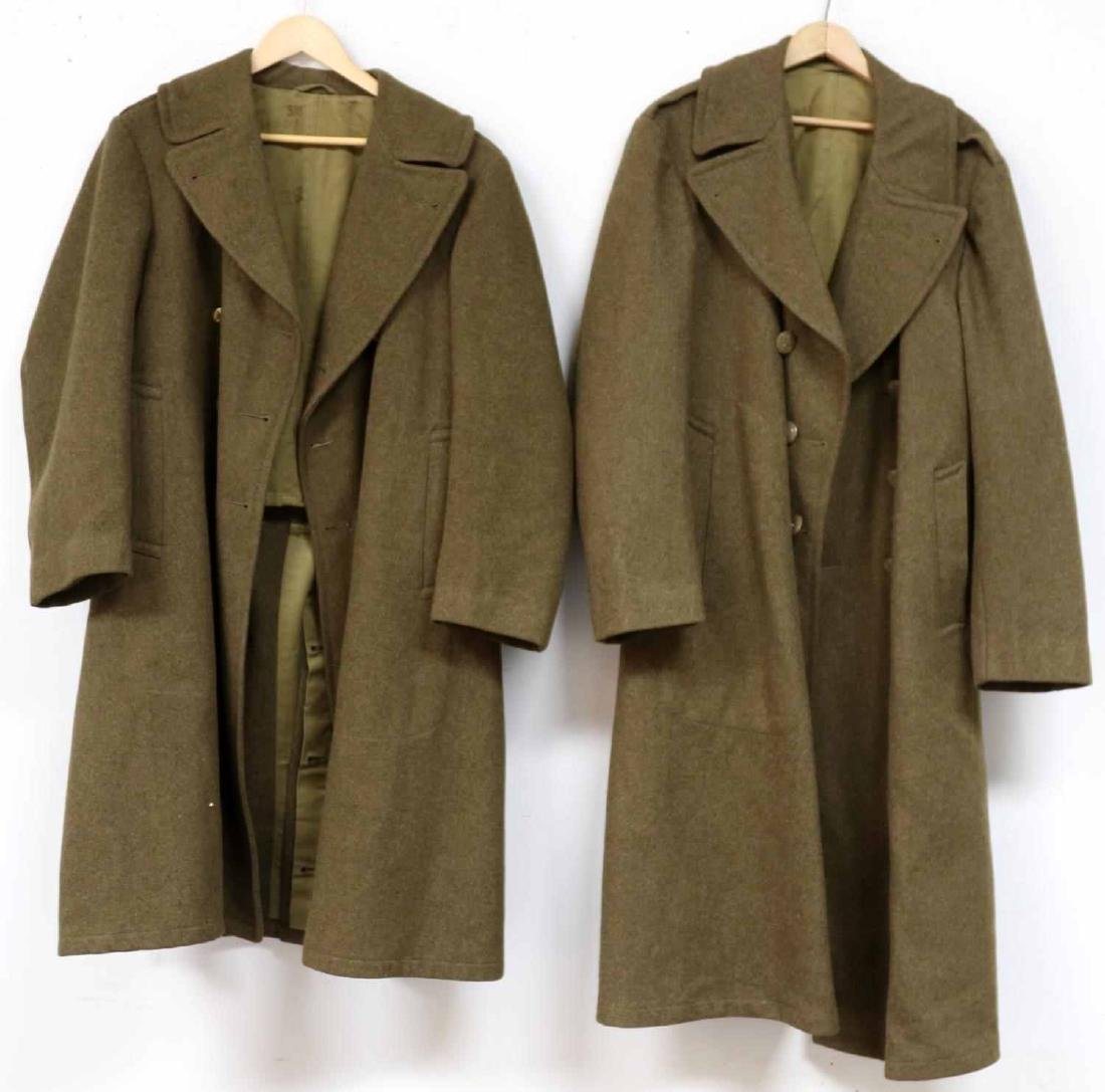 TWO MILITARY UNIFORM US ARMY WWII OVERCOATS
