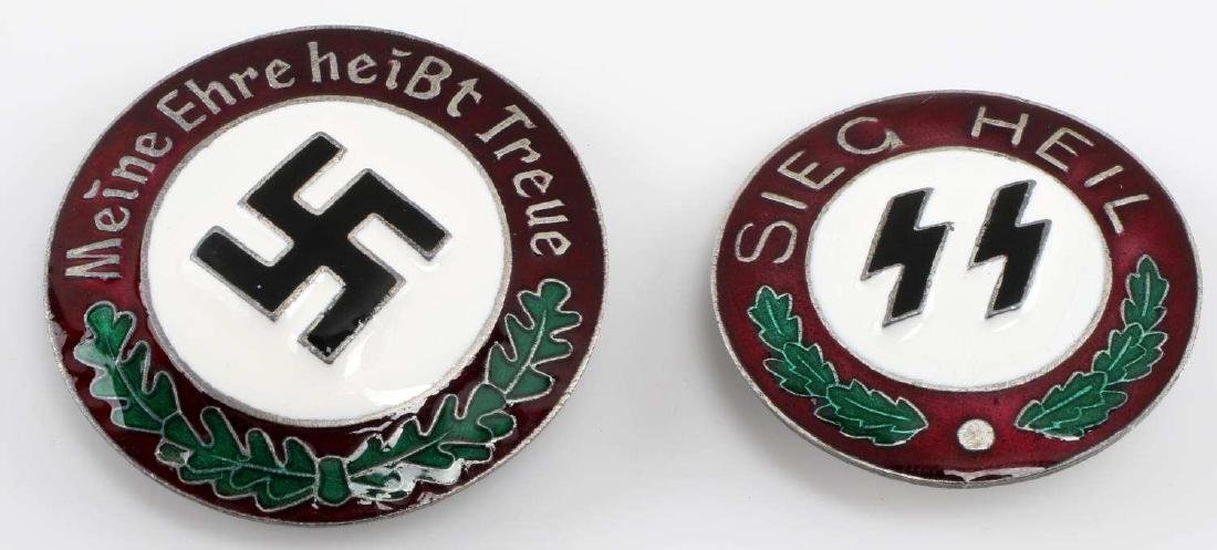 WWII GERMAN THIRD REICH SS NSDAP BADGE LOT OF TWO