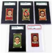5 1911 BASEBALL TOBACCO CIGARETTE GRADED CARDS