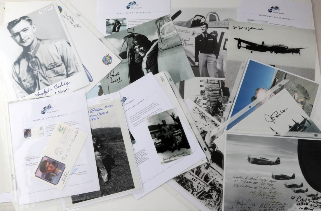 WWII USAF AND RAF PILOT ACE SIGNATURE LOT OF 26
