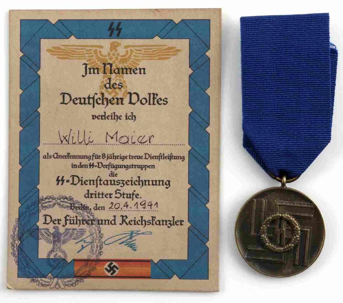 WWII GERMAN SS 8 YEAR SERVICE MEDAL AND DOCUMENT