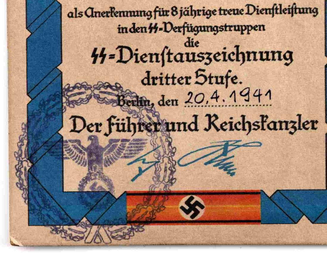 WWII GERMAN SS 8 YEAR SERVICE MEDAL AND DOCUMENT - 3