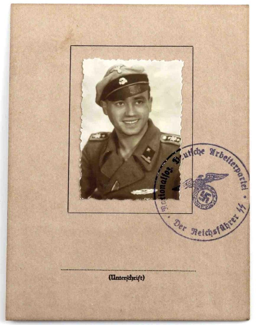 WWII GERMAN SS 8 YEAR SERVICE MEDAL AND DOCUMENT - 4