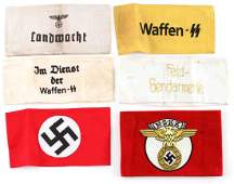 WWII GERMAN THIRD REICH ARMBAND LOT OF SIX